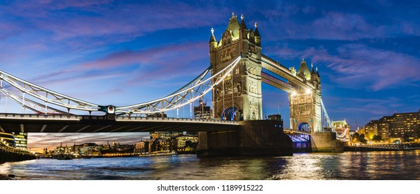 London, UK: Night view of the Tower Bridge over river Thames.