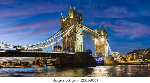 London, UK: Night view of the Tower Bridge over river Thames