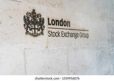 London, UK - Nov. 11, 2019: Sign of London Stock exchange group in capital city of United kingdom. Traders invest dollar money in economy to find financial success
