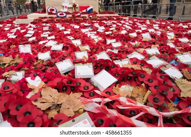 LONDON, UK - NOV 11: Wreaths laid at the Cenotaph, Whitehall, for Remembrance Day, on Nov 11, 2015 in London UK. For members of the armed forces who lost their lives in World wars and conflicts.