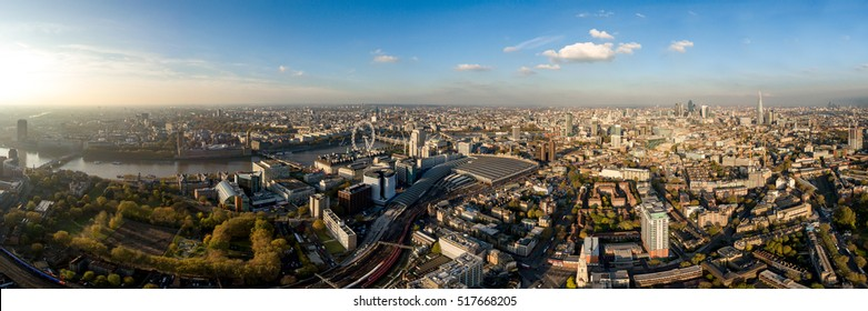 London, UK - Nov 15, 2016 - The New London Skyline Aerial Panorama View Modern Famous Landmarks on November 15, 2016. London is the capital and most populous city of England and the United Kingdom.