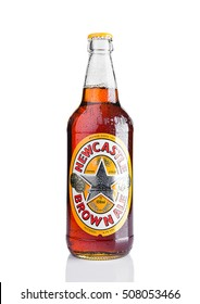 LONDON, UK - NOVEMBER 01, 2016: Cold bottle of Newcastle Brown Ale beer. Launched in 1927 by Colonel Jim Porter after the merger of Newcastle Breweries with Scottish Brewers.