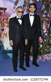 """LONDON, UK. November 01, 2018: Andrea Bocelli & Matteo Bocelli at the European premiere of """"The Nutcracker and the Four Realms"""" at the Vue Westfield, White City, London"""