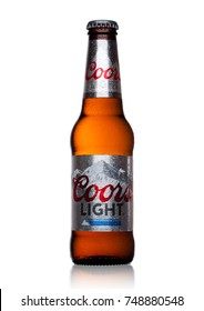 LONDON, UK - NOVEMBER 03, 2017: Bottle of Coors Light beer on white background. Coors operates a brewery in Golden, Colorado, that is the largest single brewery facility in the world.