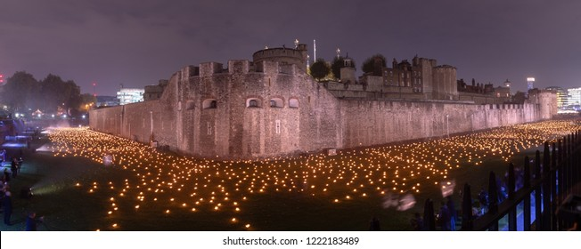 London / UK - November 05 2018: 10000 lights at the Tower of London. Remembering the soldiers who died on the 100th anniversary.