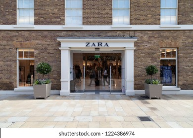 London, UK - November 07, 2017: Zara store in a famous Chelsea district, London, UK. Zara is a Spanish fast fashion clothing and accessories retailer, part of the Inditex group.