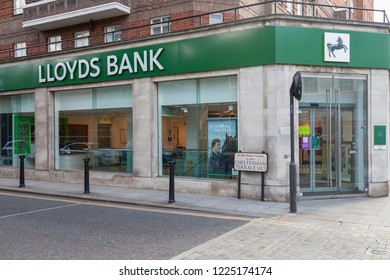 London, UK - November 07, 2017: Lloyds bank branch on King's Road, Chelsea. Lloyds bank is the leading provider of current accounts, savings and personal accounts in the UK.