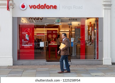 London, UK - November 07, 2017: The exterior of Vodafone mobile store.  Vodafone Group plc is a British multinational telecommunications company and one of the biggest phone suppliers in the UK.