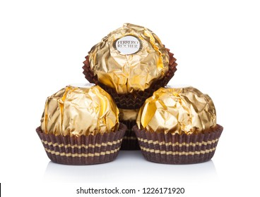 LONDON, UK - NOVEMBER 08, 2018: Ferrero Rocher premium chocolate sweets on white background.