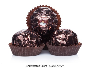 LONDON, UK - NOVEMBER 08, 2018: Ferrero Rondnoir premium chocolate sweets on white background.