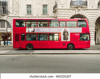 LONDON, UK - NOVEMBER 09, 2015: Red double decker bus is a traditional landmark of London