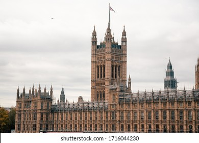 London, UK - November 09, 2019: view on The Palace of Westminster exterior at cloudy weather
