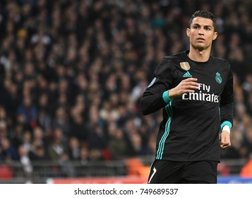 LONDON, UK - NOVEMBER 1, 2017: Cristiano Ronaldo pictured during the UEFA Champions League Group H game between Tottenham Hotspur and Real Madrid at Wembley Stadium.
