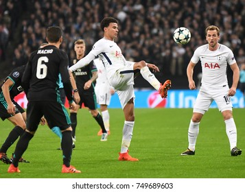 LONDON, UK - NOVEMBER 1, 2017: Dele Alli pictured during the UEFA Champions League Group H game between Tottenham Hotspur and Real Madrid at Wembley Stadium.