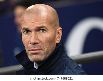 LONDON, UK - NOVEMBER 1, 2017: Zinedine Zidane pictured during the UEFA Champions League Group H game between Tottenham Hotspur and Real Madrid at Wembley Stadium.