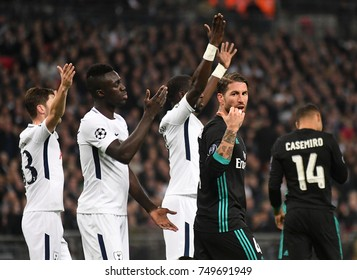LONDON, UK - NOVEMBER 1, 2017: Davinson Sanchez and Sergio Ramos pictured during the UEFA Champions League Group H game between Tottenham Hotspur and Real Madrid at Wembley Stadium.