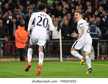 LONDON, UK - NOVEMBER 1, 2017: Dele Alli and Kieran Trippier celebrate a goal during the UEFA Champions League Group H game between Tottenham Hotspur and Real Madrid at Wembley Stadium.