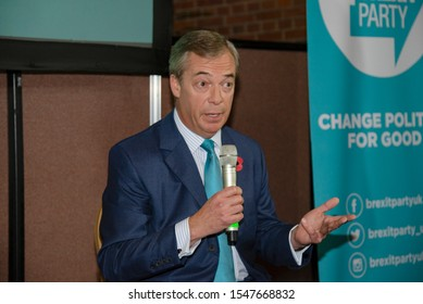 London - UK November 1 2019. Brexit Party leader Nigel Farage speaking at the launch of the Brexit Party's manifesto today in Central London.
