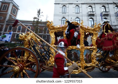 London, UK. - November 10, 2018: Peter Estlin, Rt Hon the Lord Mayor of the City of London, waves from the mayoral carriage during  the 2018 Lord Mayors Show Parade.