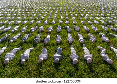 LONDON, UK - NOVEMBER 10, 2018.Shrouds of the Somme installation by Rob Heard at the Queen Elizabeth Olympic Park .Shrouds show deaths at the Battle of The Somme where there is no known grave