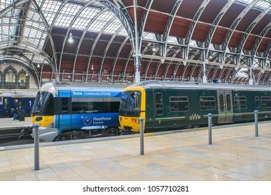 London / UK - November 13 2017: Heathrow Express bogey at Paddington train station for passenger transportation