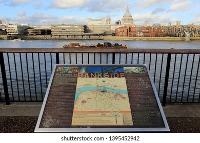 LONDON, UK - NOVEMBER 13, 2018 : Map of Bankside at Southwark with view of Thames River and st paul's cathedral.