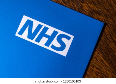 London, UK - November 14th 2018: A close-up of the NHS - National Health Service logo, pictured on an information leaflet.