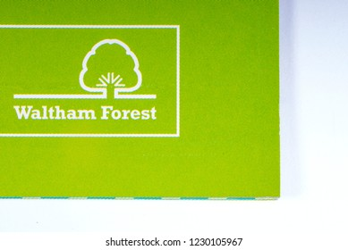London, UK - November 14th 2018: The logo of the Borough of Waltham Forest in London, pictured on an information leaflet.