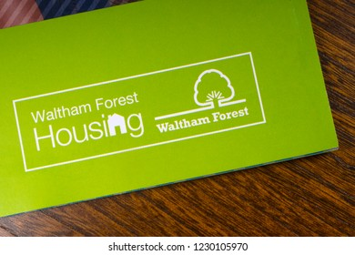 London, UK - November 14th 2018: The Waltham Forest Housing logo - the Housing department of the Borough of Waltham Forest in London, pictured on an information leaflet.