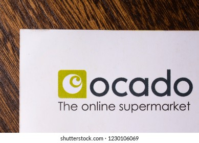 London, UK - November 14th 2018: A close-up of the Ocado company logo, pictured on an information leaflet.  Ocado is a British online supermarket.