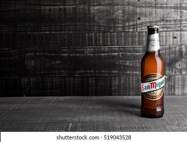 LONDON, UK- NOVEMBER 15 ,2016: Cold bottle of San Miguel beer. The San Miguel brand of beer is the leading brand of the San Miguel Brewery Inc, the largest beer producer in the Philippines.