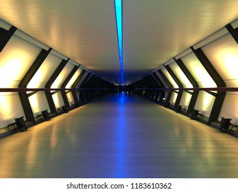 LONDON, UK - NOVEMBER 15, 2017: Colorful crossrail tunnel of Canary Wharf, London at night