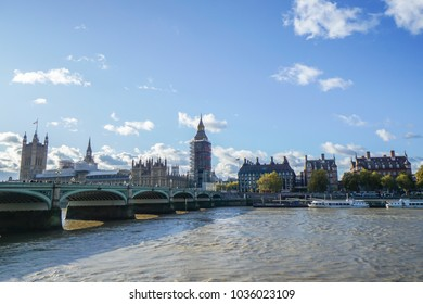 London / UK - November 17 2017: Big Ben under renovation with bridge and cityscape at Westminster in sunny day