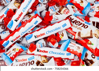LONDON, UK - November 17, 2017: Kinder chocolate different mixon white background.Kinder bars are produced by Ferrero founded in 1946.