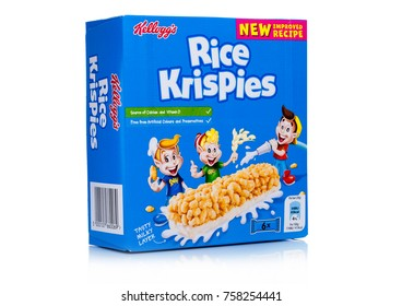 LONDON, UK - November 17, 2017: Box of Kellogg's Rice Crispies Breakfast Cereal Bar on white background, Rice Crispies are a popular breakfast cereal made from sugar coated corn flakes.