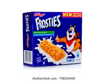 LONDON, UK - November 17, 2017: Box of Kellogg's Frosties Breakfast Cereal Bar on white background, Frosties are a popular breakfast cereal made from sugar coated corn flakes.
