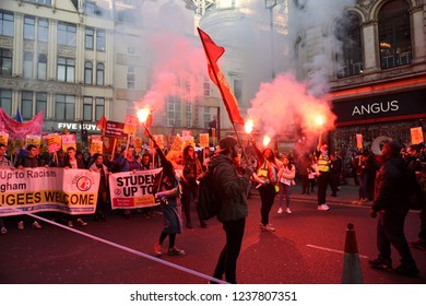 London, UK November 17, 2018 Thousands of people attend anti- fascist and anti-racist protest
