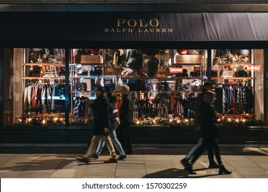 London, UK - November 17, 2019: Facade of Polo Ralph Lauren shop on Regent Street, major shopping street in the West End, London, people walking in front, in the evening, motion blur.