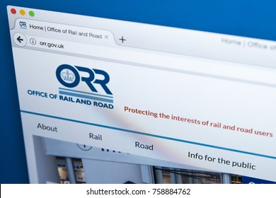 LONDON, UK - NOVEMBER 17TH 2017: Homepage of the website for the Office of Rail and Road - responsible for ensuring UK railway operators comply with health and safety law, on 17th November 2017.