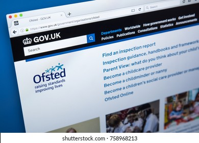 LONDON, UK - NOVEMBER 17TH 2017: Homepage of the website for the Office for Standards in Education, Childrens Services and Skills - the non-ministerial UK government department, on 17th November 2017.