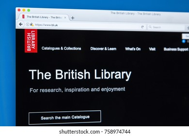 LONDON, UK - NOVEMBER 17TH 2017: The homepage of the official website for the British Library, on 17th November 2017.