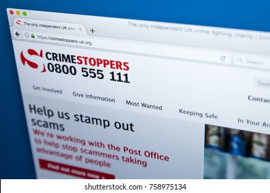 LONDON, UK - NOVEMBER 17TH 2017: The homepage of the official website for Crimestoppers - the independent crime-fighting organisation in the UK, on 17th November 2017.