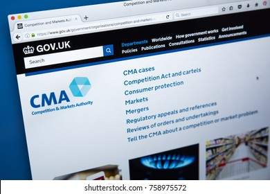 LONDON, UK - NOVEMBER 17TH 2017: The homepage of the official website for the Competition and Markets Authority - the non-ministerial UK government department, on 17th November 2017.