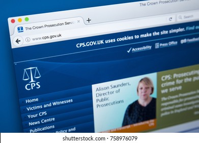 LONDON, UK - NOVEMBER 17TH 2017: Homepage of the website for the Crown Prosecution Service - the prosecuting agency for conducting criminal prosecutions in England and Wales,  on 17th November 2017.
