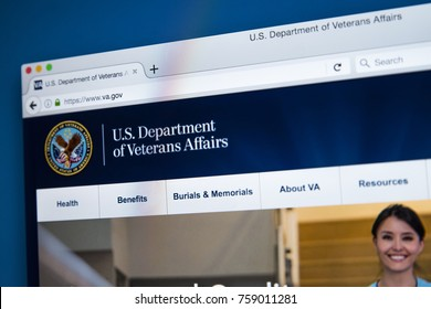 LONDON, UK - NOVEMBER 17TH 2017: The homepage of the official website for the United States Department of Veterans Affairs, on 17th November 2017.
