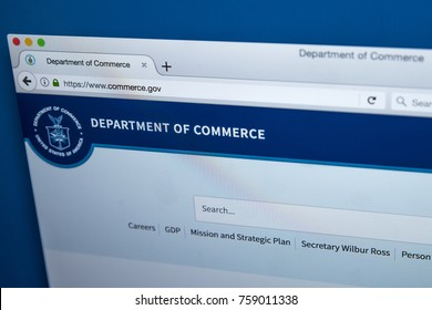 LONDON, UK - NOVEMBER 17TH 2017: The homepage of the official website for the United States Department of Commerce, on 17th November 2017.