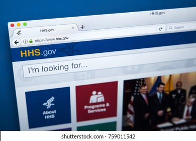 LONDON, UK - NOVEMBER 17TH 2017: The homepage of the official website for the United States Department of Health and Human Services, also known as the Health Department, on 17th November 2017.
