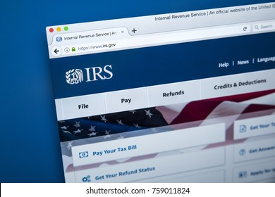 LONDON, UK - NOVEMBER 17TH 2017: The homepage of the official website for the Internal Revenue Service - the revenue service of the United States federal government, on 17th November 2017.
