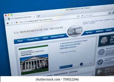 LONDON, UK - NOVEMBER 17TH 2017: The homepage of the official website for the US Department of the Treasury, on 17th November 2017.