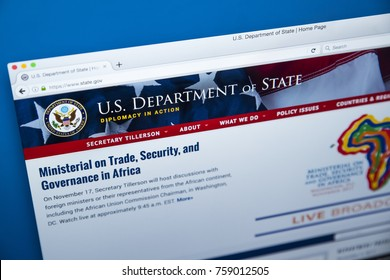 LONDON, UK - NOVEMBER 17TH 2017: The homepage of the official website for the US Department of State, often referred to as the State Department, on 17th November 2017.